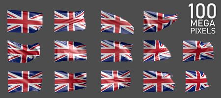 a lot of different pictures of United Kingdom (UK) flag isolated on grey background - 3D illustration of object