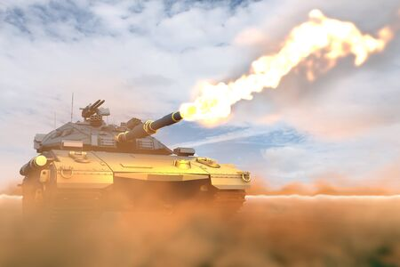 army tank with not existing design in fight shoots in desert, high resolution fire fight concept - military 3D Illustration Stock fotó
