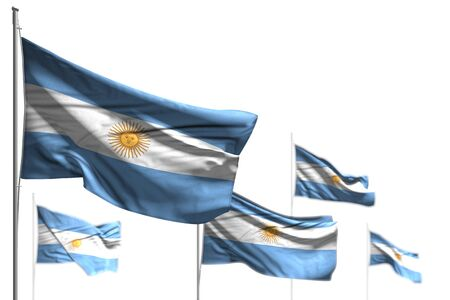 wonderful independence day flag 3d illustration  - five flags of Argentina are waving isolated on white - illustration with selective focus Banco de Imagens