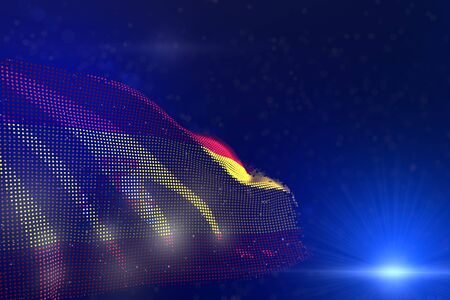 nice any occasion flag 3d illustration  - digital illustration of Spain flag of dots waving on blue - selective focus and space for text