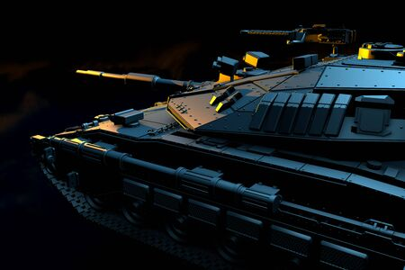 Military 3D Illustration of isolated grey modern tank with fictive design at war, very high resolution victory day concept on black smoke background