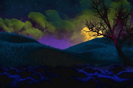 colorful creepy dark mockup - bokeh background design template 3D illustration soft focus holiday concept
