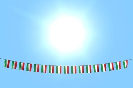 beautiful any occasion flag 3d illustration  - many Hungary flags or banners hanging on rope on blue sky background