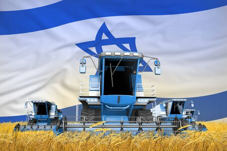 four light blue combine harvesters on rye field with flag background, Israel agriculture concept - industrial 3D illustration