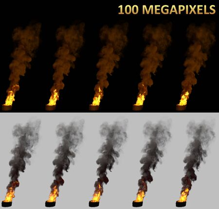 strike concept, high detail burning car tires isolated - 3D illustration of objects