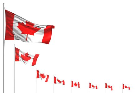 cute many Canada flags placed diagonal isolated on white with space for your text - any occasion flag 3d illustration