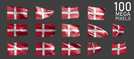 Denmark flag isolated - various images of the waving flag on grey background - object 3D illustration