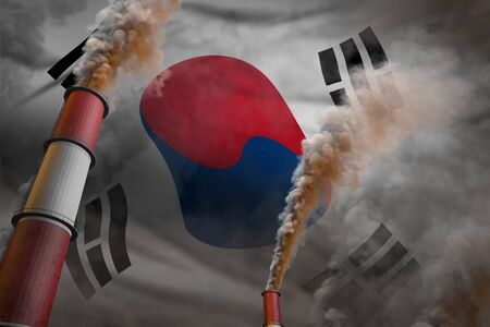 Pollution fight in Republic of Korea (South Korea) concept - industrial 3D illustration of two big plant chimneys with heavy smoke on flag background