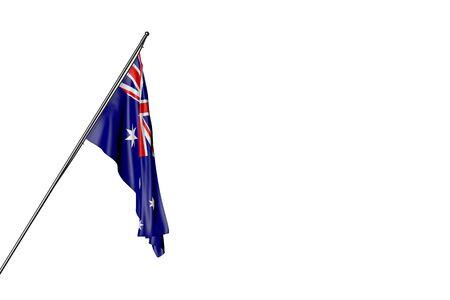 wonderful anthem day flag 3d illustration  - Australia flag hangs on a diagonal pole isolated on white Imagens