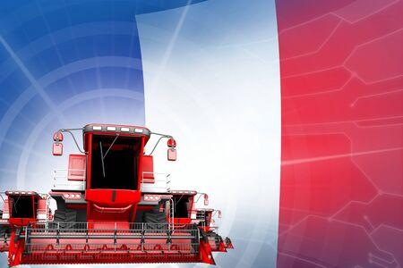 Farm machinery modernisation concept, red modern rye combine harvesters on France flag - digital industrial 3D illustration