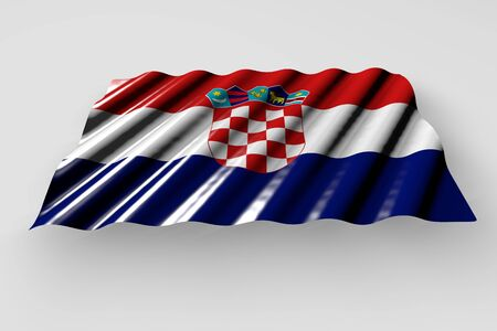 beautiful memorial day flag 3d illustration  - shining flag of Croatia with large folds lay isolated on grey