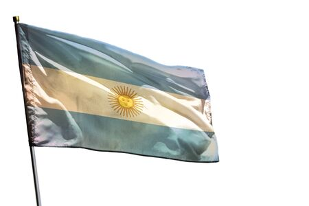 Fluttering Argentina flag isolated on white background.