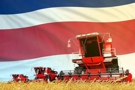 industrial 3D illustration of red grain agricultural combine harvester on field with Costa Rica flag background, food industry concept Фото со стока
