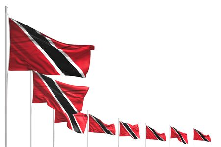 wonderful many Trinidad and Tobago flags placed diagonal isolated on white with space for your text - any occasion flag 3d illustration