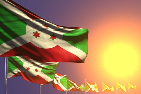 cute many Burundi flags placed diagonal on sunset with space for text - any celebration flag 3d illustration