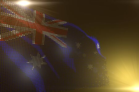 wonderful hi-tech image of Australia flag made of dots waving on yellow with free space for your text - any celebration flag 3d illustration