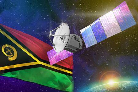 Satellite with Vanuatu flag, space communications technology concept - 3D Illustration