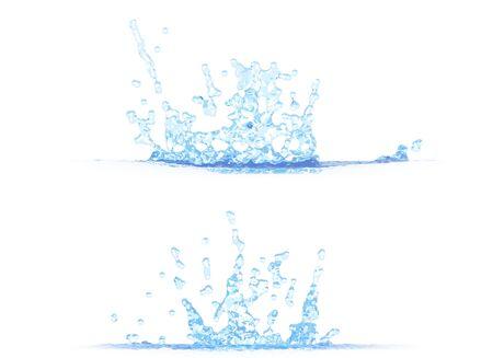 2 side views of beautiful water splash - 3D illustration, mockup isolated on white - creative still