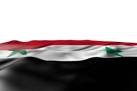 pretty mockup picture of Syrian Arab Republic flag lay with perspective view isolated on white with space for content - any occasion flag 3d illustration