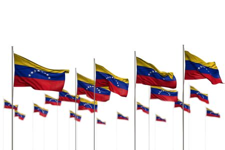 pretty any celebration flag 3d illustration  - Venezuela isolated flags placed in row with soft focus and space for text