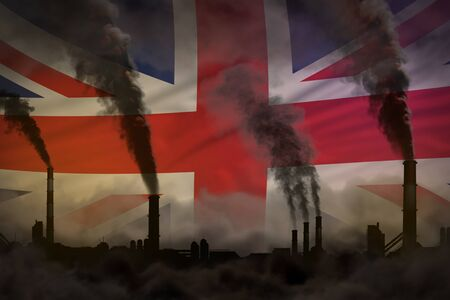 Dark pollution, fight against climate change concept - industrial 3D illustration of industry pipes dense smoke on United Kingdom (UK) flag background