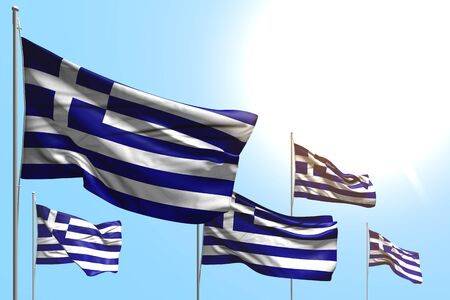 pretty 5 flags of Greece are wave on blue sky background - any holiday flag 3d illustration  Фото со стока