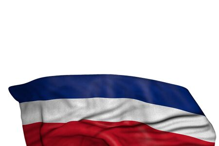pretty any celebration flag 3d illustration  - Costa Rica flag with big folds lying in the bottom isolated on white Фото со стока