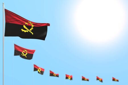 pretty independence day flag 3d illustration  - many Angola flags placed diagonal with selective focus and empty space for your text