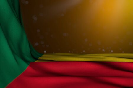 nice dark image of Benin flag lay in corner on yellow background with selective focus and free space for content - any holiday flag 3d illustration