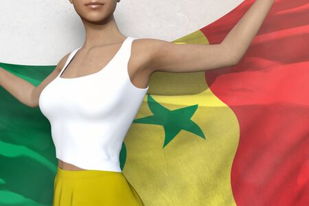 cute lady in bright skirt is holding Senegal flag in her hands behind her on the white background - flag concept 3d illustration