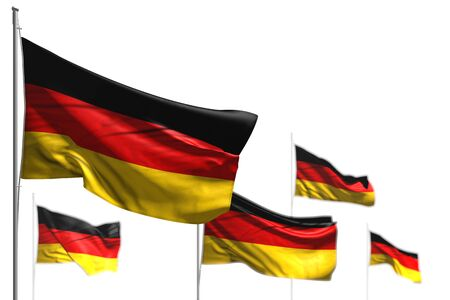 wonderful five flags of Germany are waving isolated on white - image with selective focus - any celebration flag 3d illustration  Фото со стока
