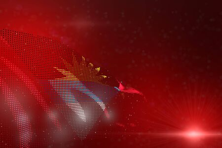 wonderful bright image of Antigua and Barbuda flag of dots waving on red - soft focus and space for content - any holiday flag 3d illustration
