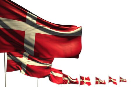 pretty Denmark isolated flags placed diagonal, illustration with bokeh and space for your text - any feast flag 3d illustration