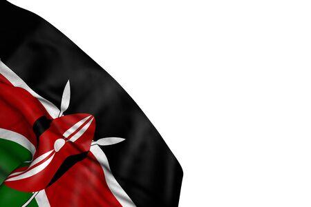 beautiful any occasion flag 3d illustration  - Kenya flag with big folds lying in bottom left corner isolated on white