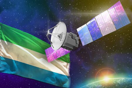 Satellite with Sierra Leone flag, space communications technology concept - 3D Illustration Stock fotó