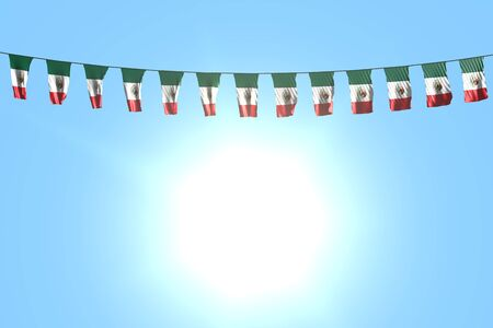 nice any celebration flag 3d illustration  - many Mexico flags or banners hanging on string on blue sky background