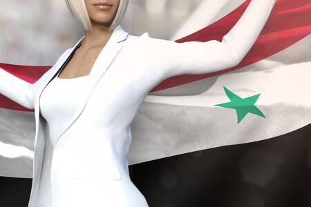 cute business woman is holding Syrian Arab Republic flag in her hands behind her on the office building background - flag concept 3d illustration Banco de Imagens
