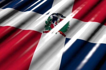 wonderful shining - looks like plastic flag of Dominican Republic with big folds lie diagonal - any feast flag 3d illustration