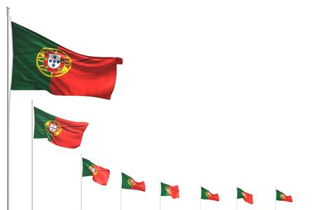 beautiful many Portugal flags placed diagonal isolated on white with place for your text - any holiday flag 3d illustration