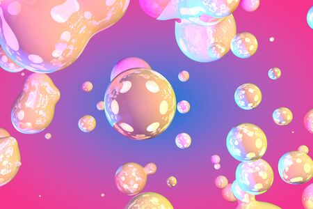 vivid shiny soap like gradient liquid or bubbles abstract background or texture 3D illustration - background design template Stock fotó