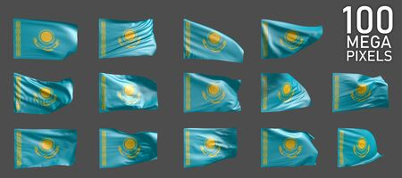 14 different realistic renders of Kazakhstan flag isolated on grey background - 3D illustration of object 스톡 콘텐츠