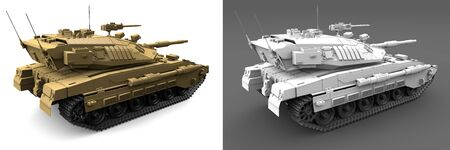 yellow and light grey heavy tanks with not existing design isolated, very high resolution victory concept - military 3D Illustration