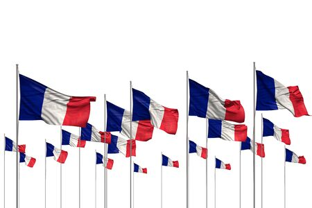 beautiful independence day flag 3d illustration  - many France flags in a row isolated on white with free place for your text