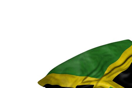 nice Jamaica flag with large folds lying flat in bottom right corner isolated on white - any occasion flag 3d illustration