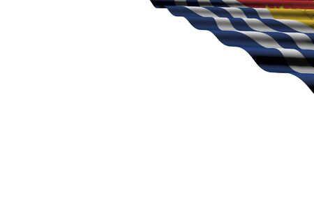 wonderful glossy flag of Kiribati with big folds lie in right top corner isolated on white - any feast flag 3d illustration