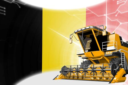Agriculture innovation concept, yellow advanced rye combine harvester on Belgium flag - digital industrial 3D illustration Imagens