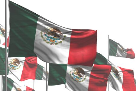 cute any occasion flag 3d illustration  - many Mexico flags are waving isolated on white