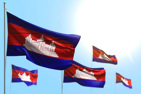 nice 5 flags of Cambodia are waving against blue sky photo with selective focus - any feast flag 3d illustration