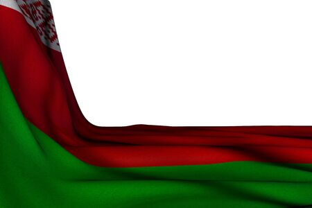 cute labor day flag 3d illustration  - isolated mockup of Belarus flag hangs diagonal on white with free space for text