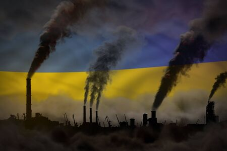 heavy smoke of industry chimneys on Ukraine flag - global warming concept, background with place for your content - industrial 3D illustration